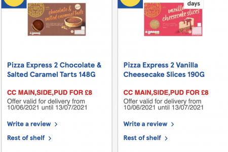 Pizza Express Tarts and Cheesecake Slices New To Tesco